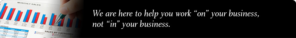 "We are here to help you work ""on"" your business, not ""in"" your business."